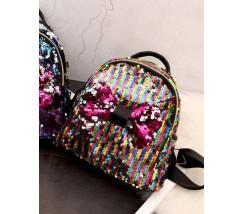 Детский рюкзак в пайетках с бантиком разноцветный