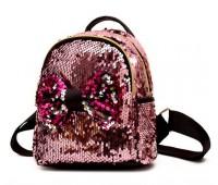 Дитячий рюкзак в пайєтках з бантиком рожевий