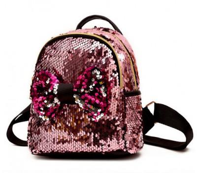 Детский рюкзак в пайетках с бантиком розовый