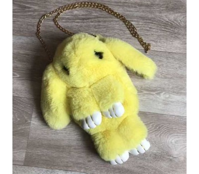 Детская сумка-рюкзак меховой заяц желтый