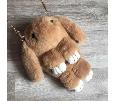 Детская сумка-рюкзак меховой заяц коричневый