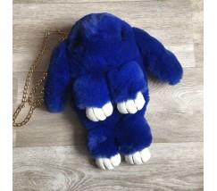 Детская сумка-рюкзак меховой заяц синий
