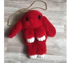 Детская сумка-рюкзак меховой заяц красный