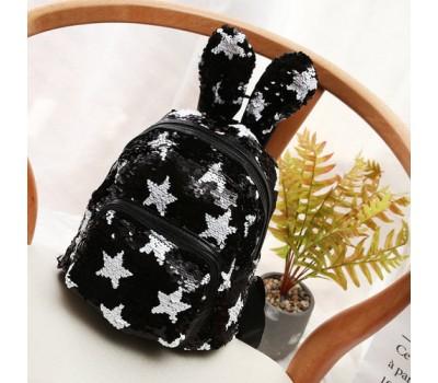 Рюкзак с ушками в пайетках со звездами черный