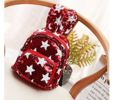 Рюкзак с ушками в пайетках со звездами красный