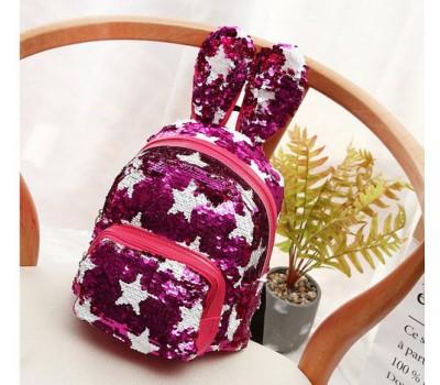 Рюкзак с ушками в пайетках со звездами малиновый