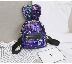 Маленький рюкзак в пайетках с ушками синий