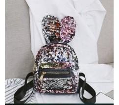 Маленький рюкзак в пайетках с ушками розовый