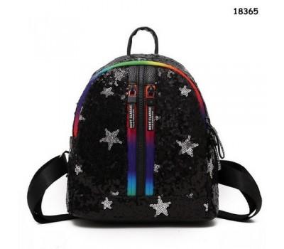 Рюкзак в пайетках со звездами черный
