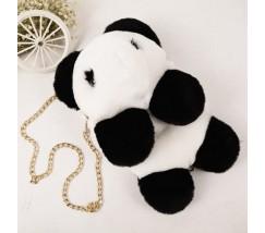 Детский пушистый рюкзак Медведь бело-черный
