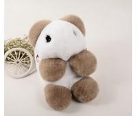 Детский пушистый рюкзак Медведь бело-коричневый