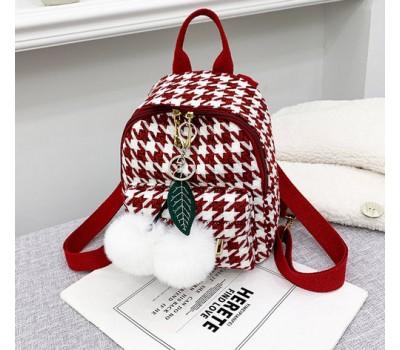 Маленький рюкзак тканевой красный