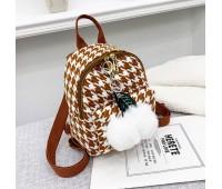 Маленький рюкзак тканевой коричневый