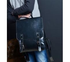 Мужской рюкзак черный с плотного кожзама