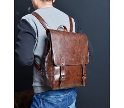 Мужской рюкзак коричневый с плотного кожзама