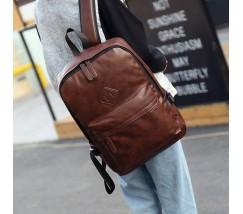 Чоловічий стильний рюкзак з шкірозамінника коричневий