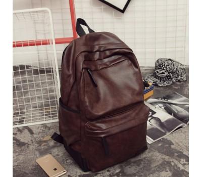 Мужской рюкзак с мягкой экокожи коричневый