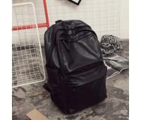 Чоловічий рюкзак з м'якої екошкіри чорний