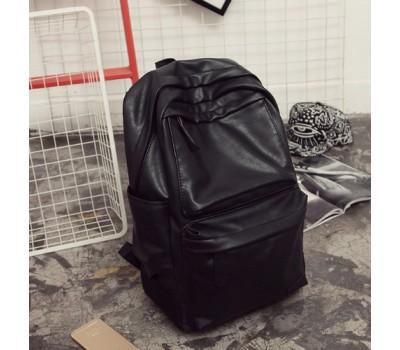 Мужской рюкзак с мягкой экокожи черный