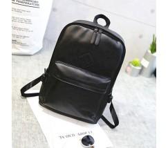 Чоловічий стильний рюкзак з шкірозамінника чорний