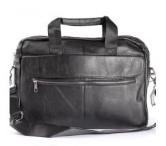 Шкіряний портфель для ноутбука, діловий чорний