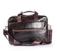 Шкіряний портфель для ноутбука, діловий коричневий
