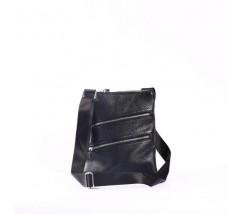 Чоловіча шкіряна сумка-месенджер на блискавках чорна
