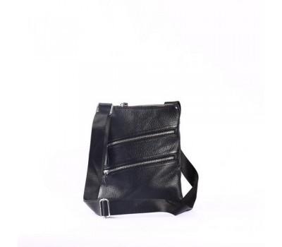 Мужская кожаная сумка-мессенджер на молниях черная