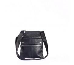 Мужская кожаная сумка-мессенджер черная