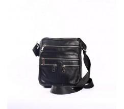Шкіряна чоловіча сумка на блискавках чорна