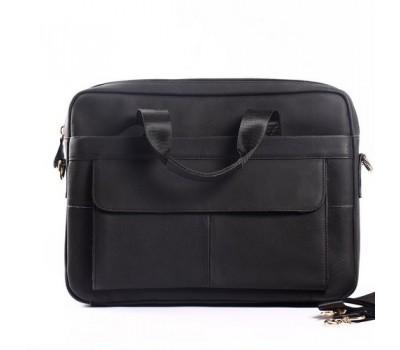 Кожаный портфель для ноутбука, деловой черный матовый
