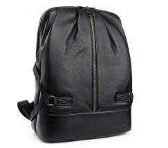 Чоловічий шкіряний рюкзак місткий чорний