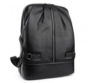 Мужской кожаный рюкзак вместительный черный