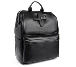 Большой мужской кожаный рюкзак черный