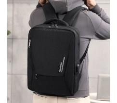Вместительный мужской рюкзак для ноутбука черный