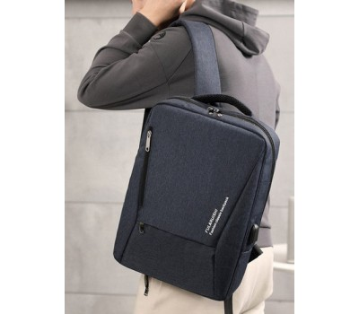 Вместительный мужской рюкзак для ноутбука темно-синий