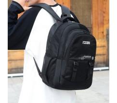 Великий чоловічий рюкзак з тканини чорний