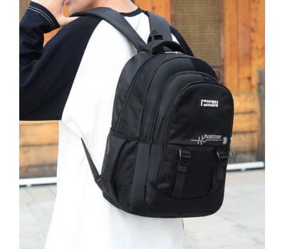 Большой мужской рюкзак из ткани черный