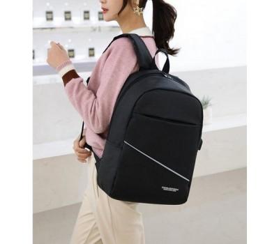 Вместительный тканевой рюкзак с USB черный