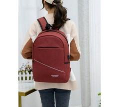Вместительный тканевой рюкзак с USB красный