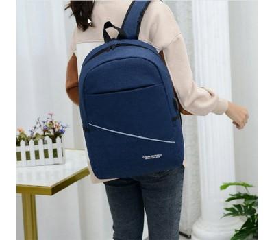 Вместительный тканевой рюкзак с USB синий
