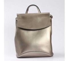 Жіночий шкіряний рюкзак-сумка сріблястого кольору