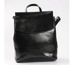 Молодежный кожаный рюкзак-сумка (трансформер) черного цвета