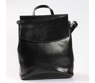 Молодежный кожаный рюкзак-сумка черного цвета