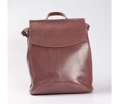 Повседневный кожаный рюкзак-сумка бордовый