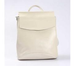 Жіночий шкіряний рюкзак-сумка (трансформер) білий