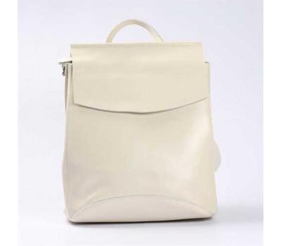Женский кожаный рюкзак-сумка белый