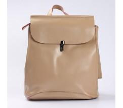 Кожаный рюкзак-сумка бежевый