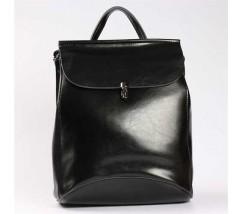 Молодежный кожаный рюкзак-сумка(трансформер) черного цвета