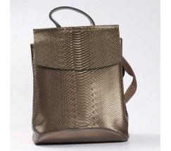 Шкіряний рюкзак-сумка з тисненням під зміїну шкіру